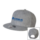 Heather Grey Wool Blend Flat Bill Snapback Hat-Airbus Helicopters