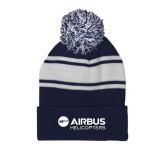 Navy/White Two Tone Knit Pom Beanie with Cuff-Airbus Helicopters