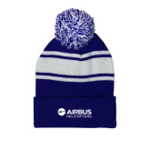Royal/White Two Tone Knit Pom Beanie with Cuff-Airbus Helicopters