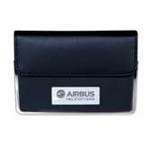 Leather Black Business Card Case-Airbus Helicopters Engraved