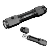 Heavy Duty Black Flashlight/Emergency Tool-Airbus Engraved