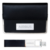 Business Card Case and Key Ring Set Black-Airbus Engraved