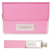 Business Card Case and Key Ring Set Pink-Airbus Engraved