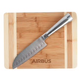Oneida Cutting Board and Santoku Knife Set-Airbus Engraved