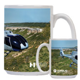 Full Color White Mug 15oz-H130 In Front of Mountain