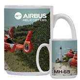 Full Color White Mug 15oz-USCG MH65 Duet Near Ocean