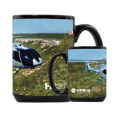 Full Color Black Mug 15oz-H130 In Front of Mountain