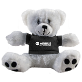 Plush Big Paw 8 1/2 inch White Bear w/Black Shirt-Airbus Helicopters