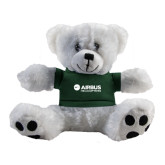 Plush Big Paw 8 1/2 inch White Bear w/Dark Green Shirt-Airbus Helicopters