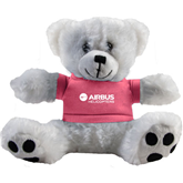 Plush Big Paw 8 1/2 inch White Bear w/Pink Shirt-Airbus Helicopters