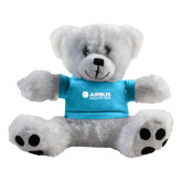 Plush Big Paw 8 1/2 inch White Bear w/Light Blue Shirt-Airbus Helicopters