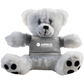Plush Big Paw 8 1/2 inch White Bear w/Grey Shirt-Airbus Helicopters