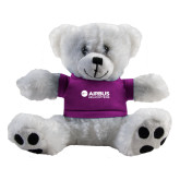 Plush Big Paw 8 1/2 inch White Bear w/Purple Shirt-Airbus Helicopters