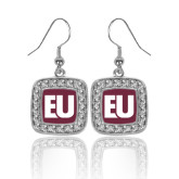 Crystal Studded Square Pendant Silver Dangle Earrings-EU