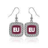 Crystal Studded Square Pendant Silver Dangle Earrings-EU