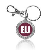 Crystal Studded Round Key Chain-EU