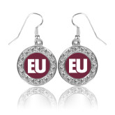 Crystal Studded Round Pendant Silver Dangle Earrings-EU