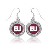 Crystal Studded Round Pendant Silver Dangle Earrings-EU
