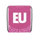 Nylon Pink Bubble Patterned Drawstring Backpack-EU