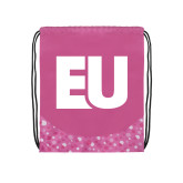 Nylon Pink Bubble Patterned Drawstring Backpack-EU