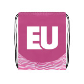 Nylon Zebra Pink/White Patterned Drawstring Backpack-EU