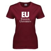 Ladies Maroon T Shirt-Primary Mark