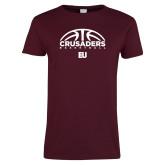 Ladies Maroon T Shirt-Basketball Half Ball