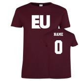 Ladies Maroon T Shirt-EU, Custom Tee w/ Name and #