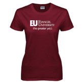 Ladies Maroon T Shirt-the greater yoU.