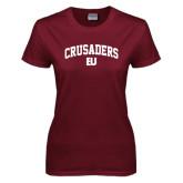 Ladies Maroon T Shirt-Arched Crusaders