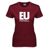 Ladies Maroon T Shirt-Football