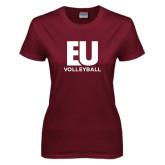 Ladies Maroon T Shirt-Volleyball