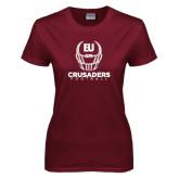 Ladies Maroon T Shirt-Football Helmet