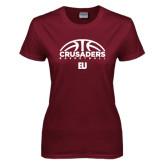 Ladies Maroon T Shirt-Basketball Half Ball Design