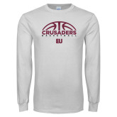 White Long Sleeve T Shirt-Basketball Half Ball