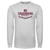 White Long Sleeve T Shirt-Baseball Plate
