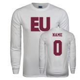 White Long Sleeve T Shirt-EU, Custom Tee w/ Name and #