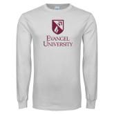 White Long Sleeve T Shirt-Evangel university Shield Stacked