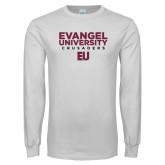 White Long Sleeve T Shirt-Evangel University - Crusaders Stacked