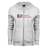 ENZA Ladies White Fleece Full Zip Hoodie-Primary Mark Flat