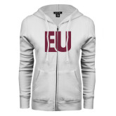 ENZA Ladies White Fleece Full Zip Hoodie-EU