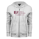 ENZA Ladies White Fleece Full Zip Hoodie-the greater yoU.