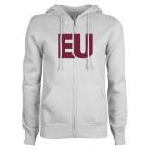 ENZA Ladies White Fleece Full Zip Hoodie-EU