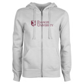 ENZA Ladies White Fleece Full Zip Hoodie-Evangel University Stacked