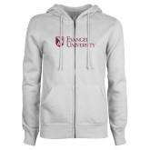 ENZA Ladies White Fleece Full Zip Hoodie-Evangel University Stacked