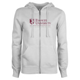 ENZA Ladies White Fleece Full Zip Hoodie-Evangel University - Tagline