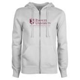 ENZA Ladies White Fleece Full Zip Hoodie-Evangel University - Tagline