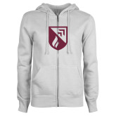 ENZA Ladies White Fleece Full Zip Hoodie-Shield