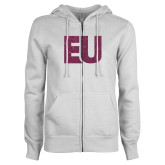 ENZA Ladies White Fleece Full Zip Hoodie-EU Pink Glitter