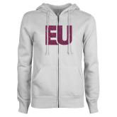 ENZA Ladies White Fleece Full Zip Hoodie-EU Pink Glitter